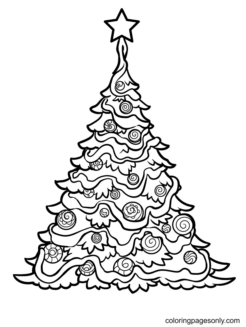 Cute Christmas Tree Coloring Page