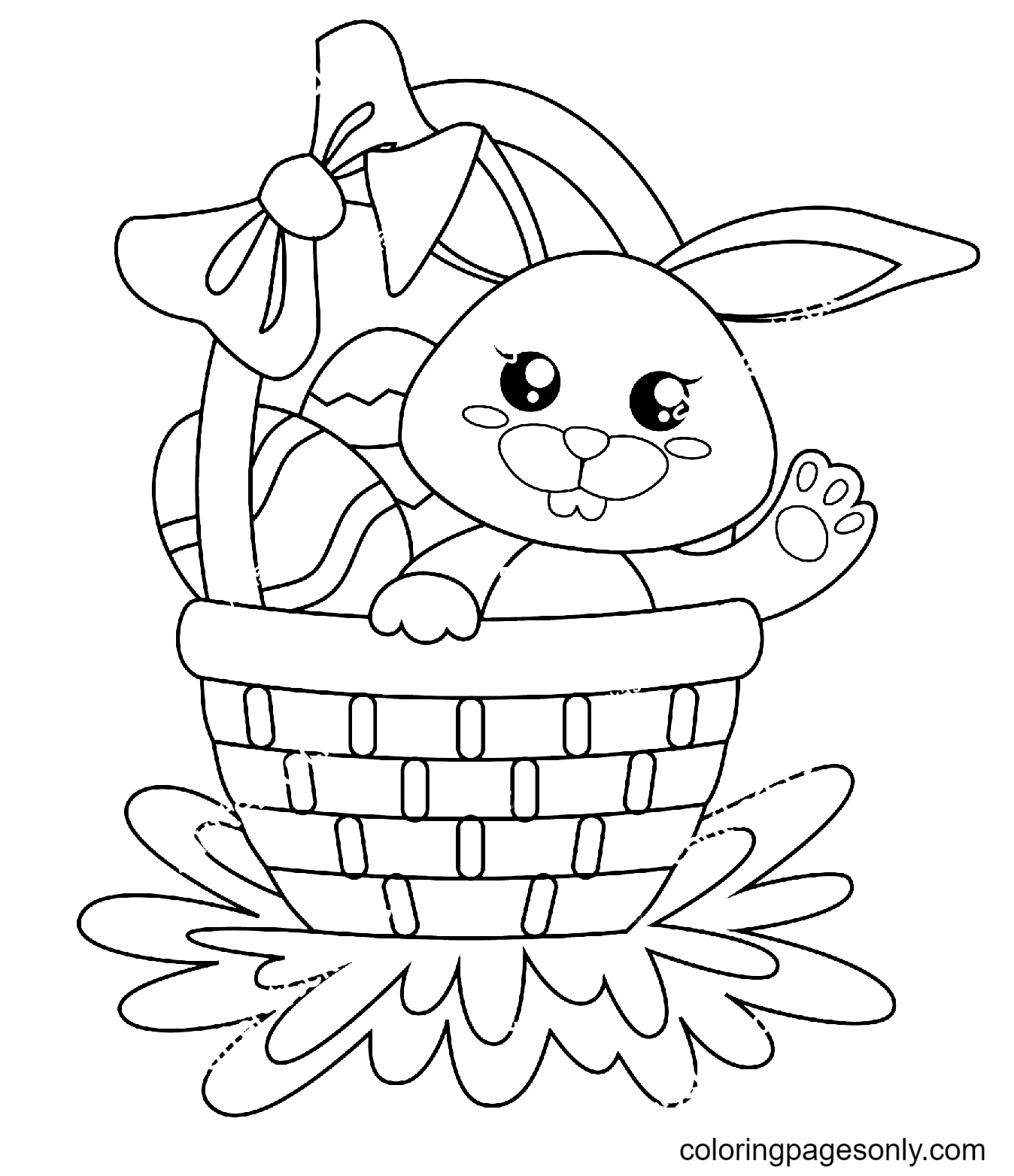 Cute Easter Bunny Sitting in Basket with Eggs Coloring Page