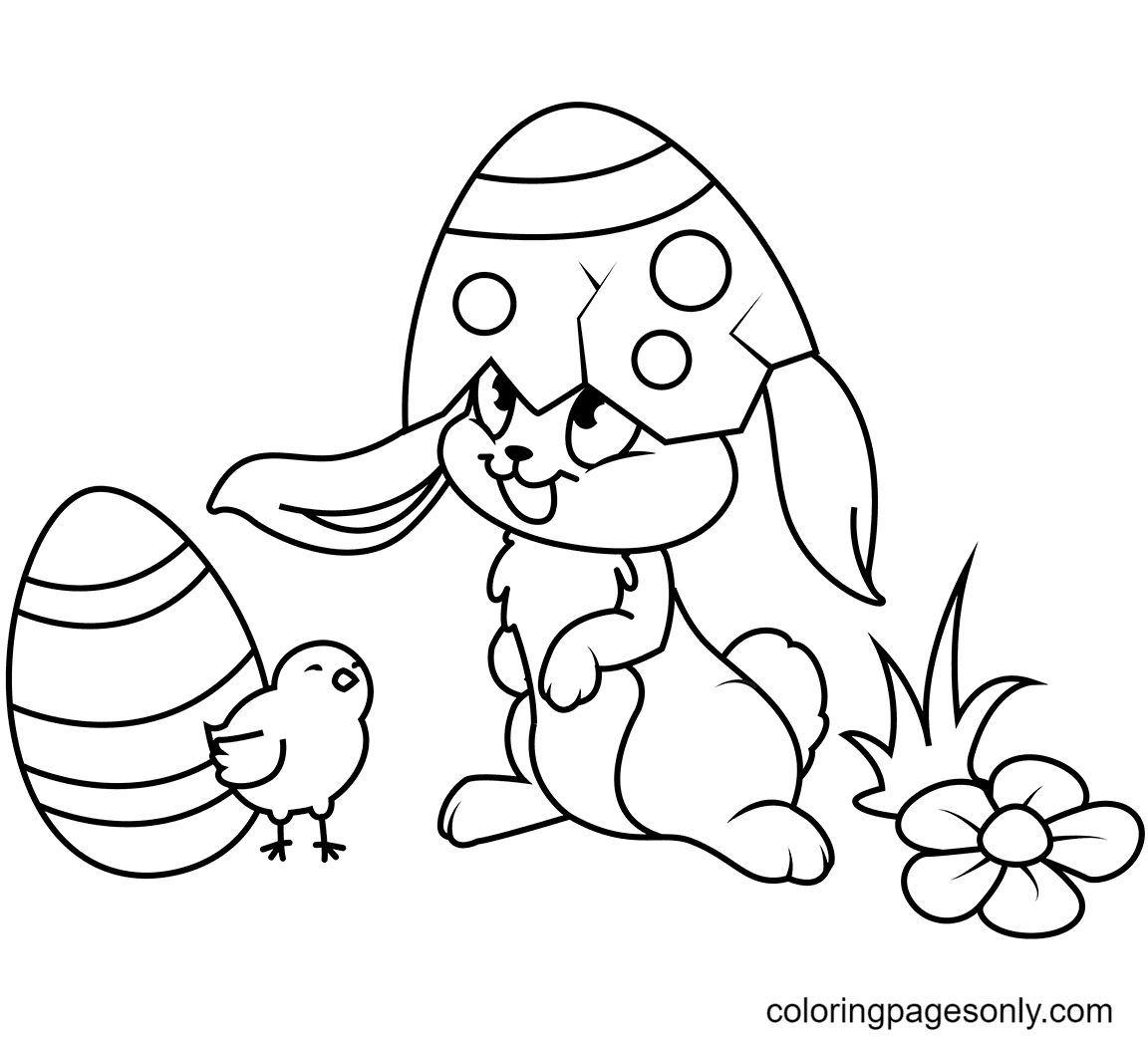 Cute Easter Chick and Bunny Coloring Page