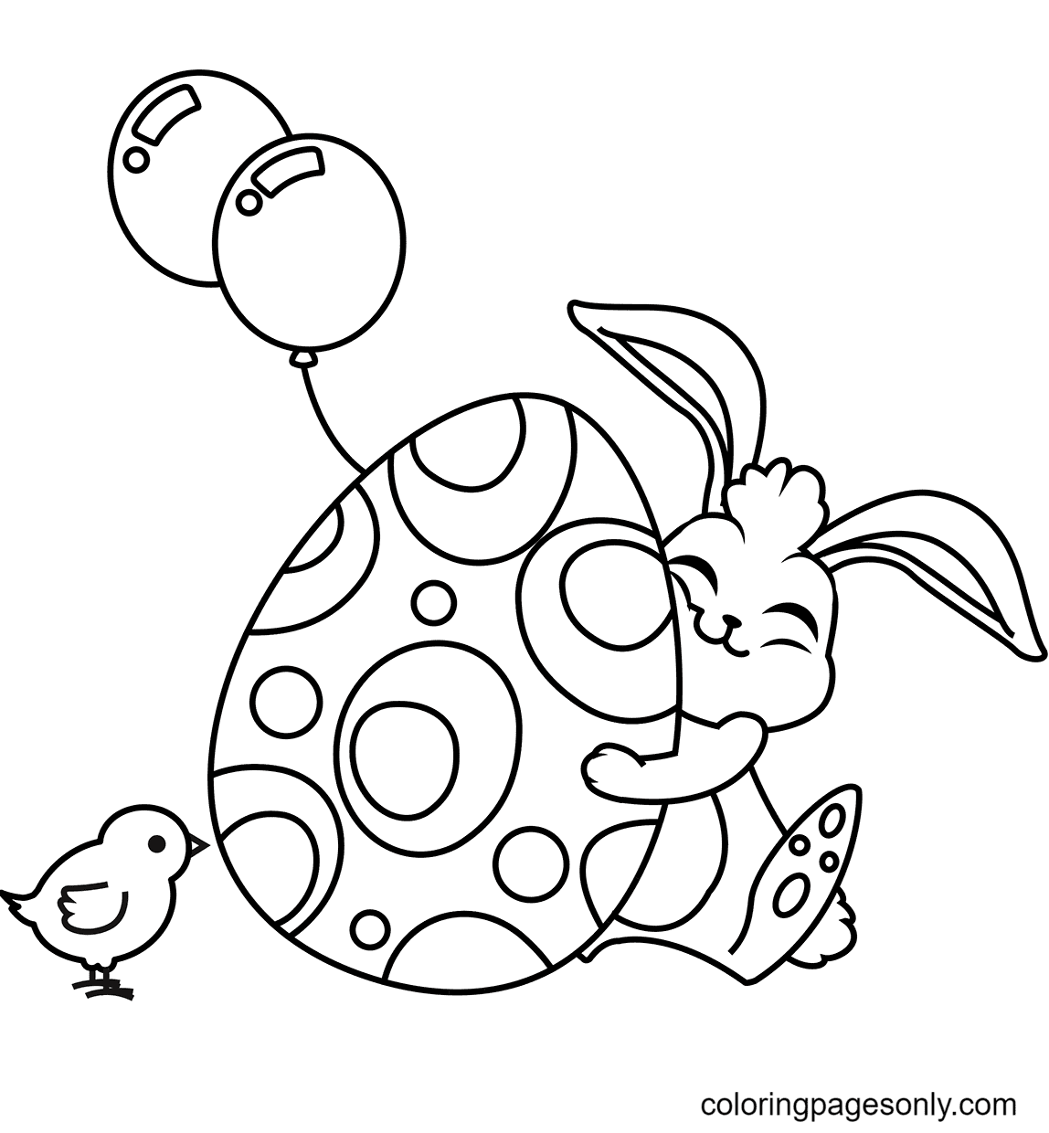 Cute Easter Rabbit Hugging Egg Coloring Page