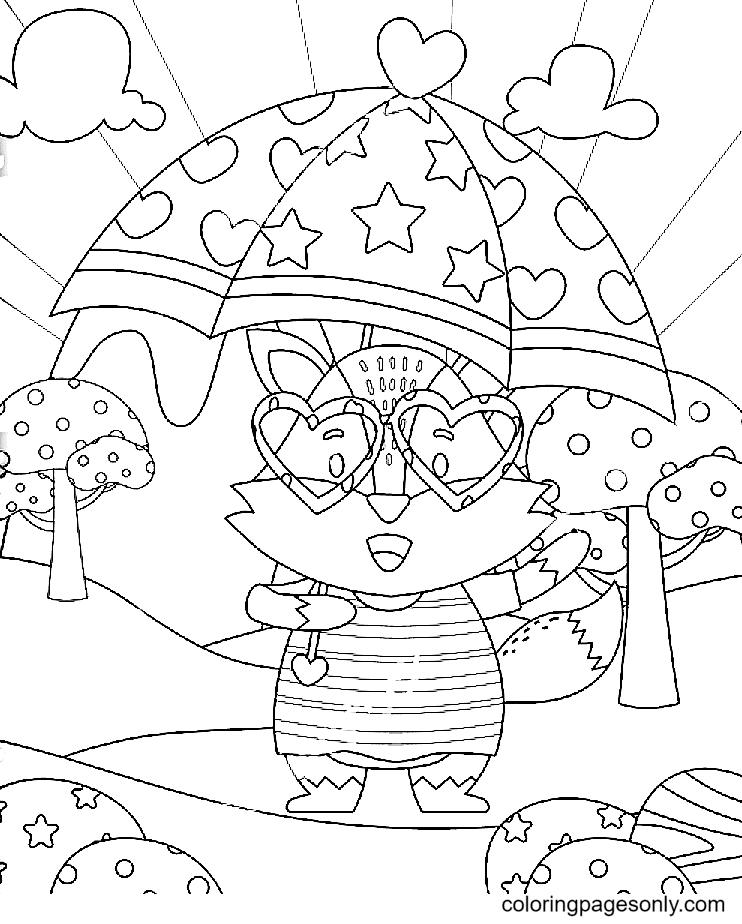 Cute Fox Holding Umbrella Coloring Page