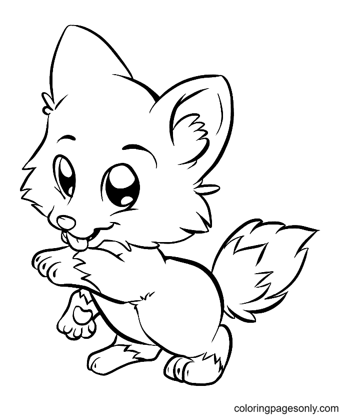Cute Fox Licking Its Paw Coloring Page