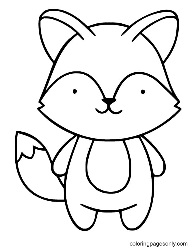 Cute Fox Standing Coloring Page