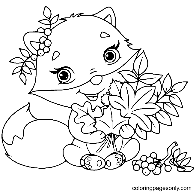 Cute Fox with Leaves Coloring Page