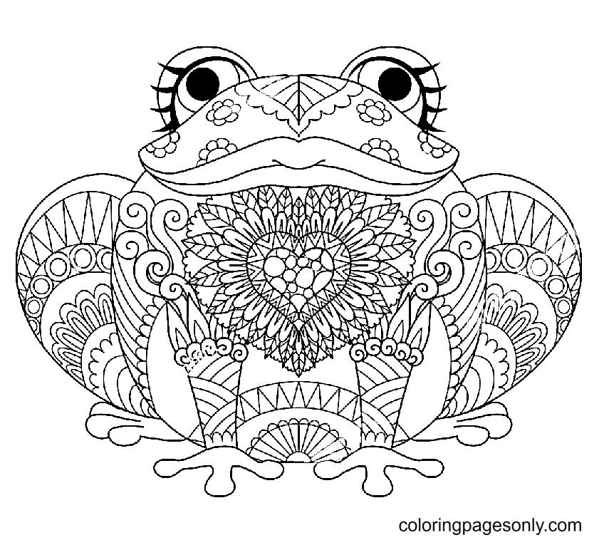 Cute Frog Mandala Coloring Page