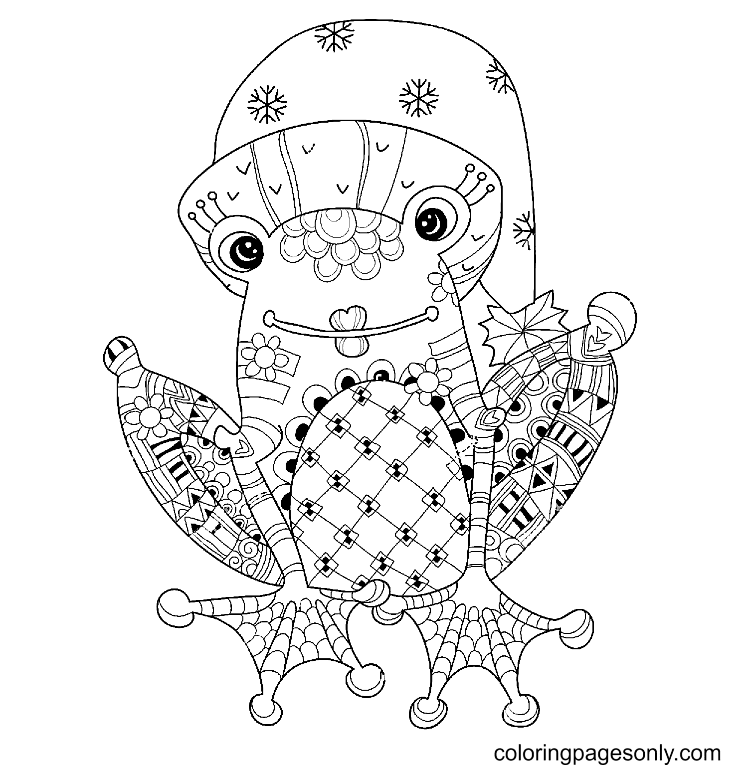 Cute Frog Prince in Christmas Hat Coloring Page