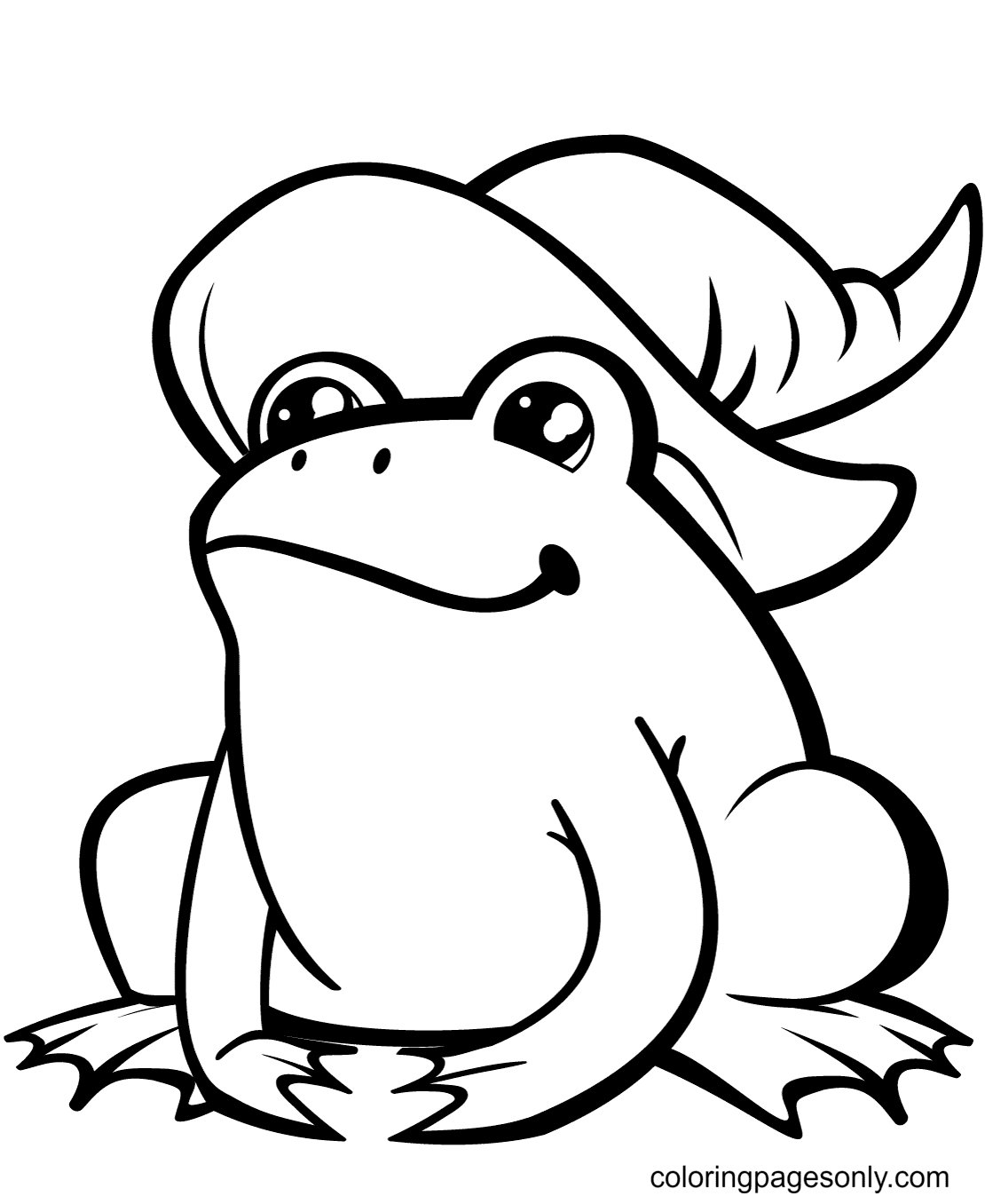 Cute Frog in Witch Hat Coloring Page