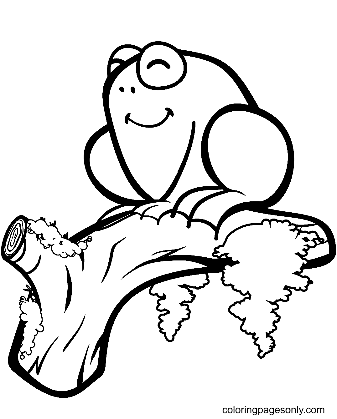 Cute Frog on a Branch Coloring Page
