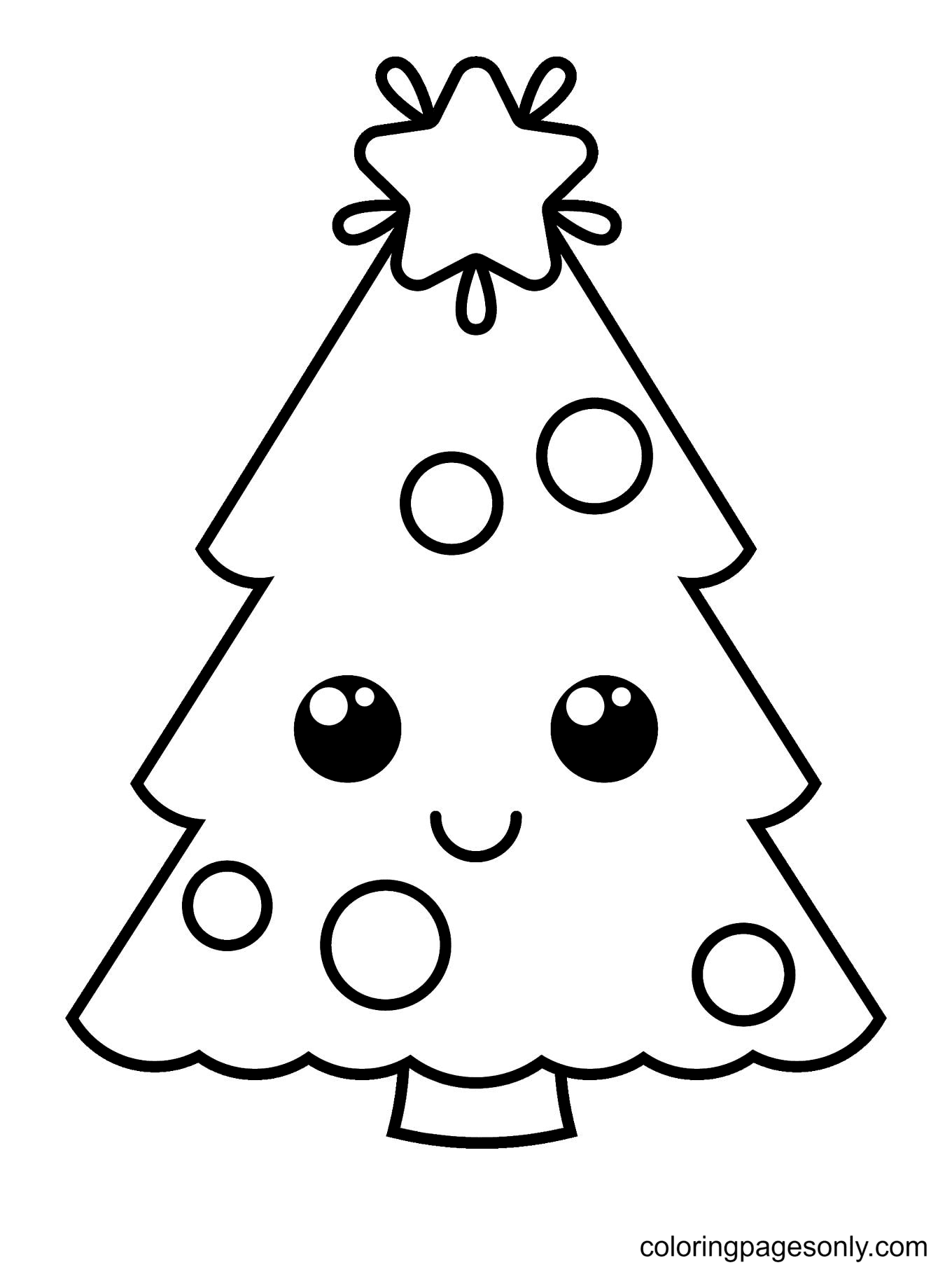 Cute Kawaii Style Christmas Tree Coloring Page