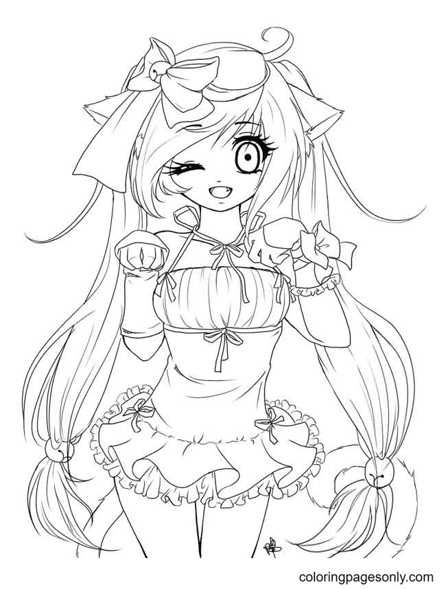 Cute Long Hair Anime Girl Coloring Page