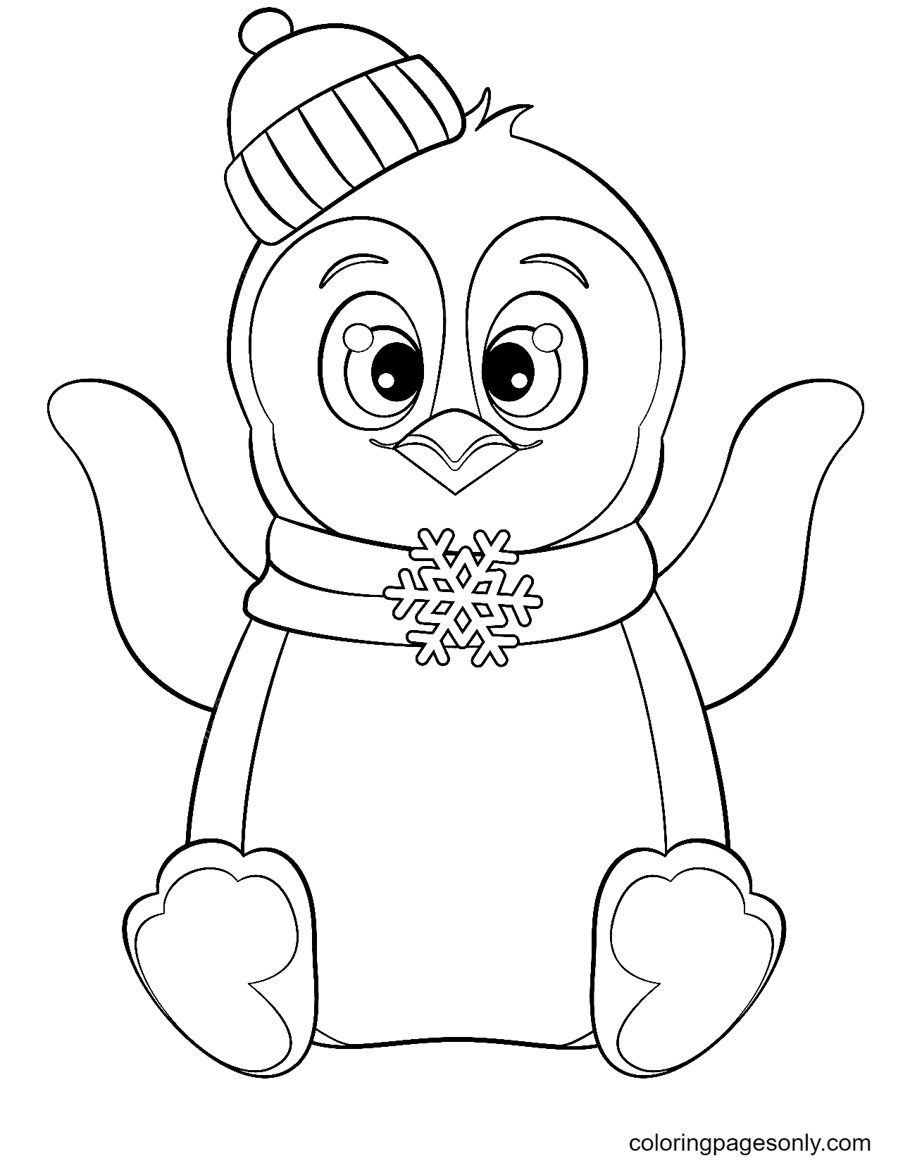 Cute Penguin Free Coloring Page