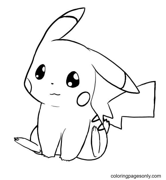 Cute Pikachu Pokemon Coloring Page