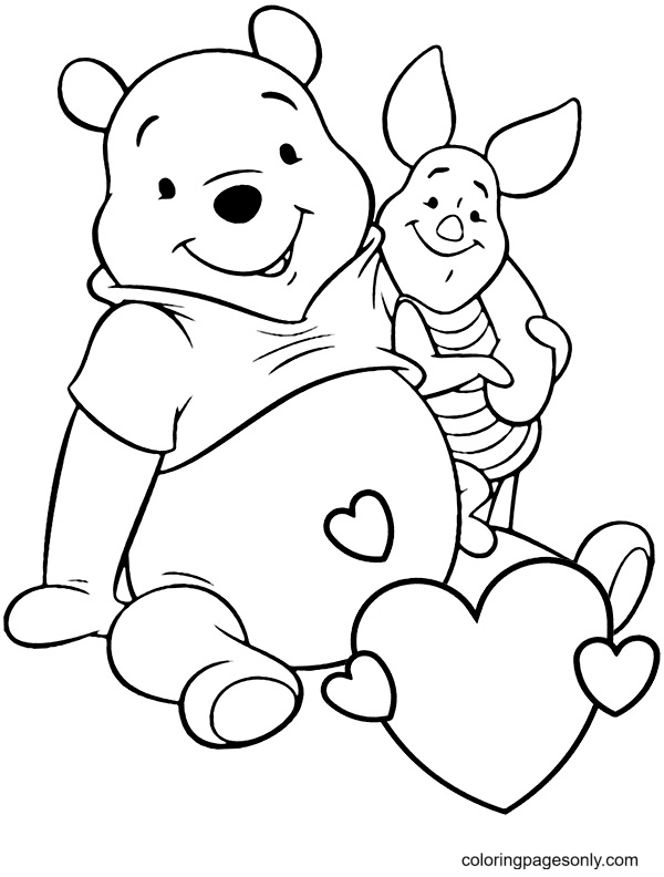Cute Pooh & Piglet Coloring Page