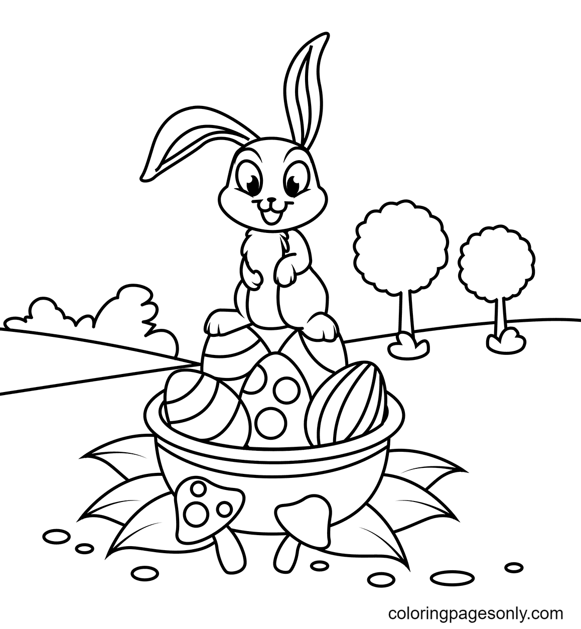 Cute Rabbit on Easter Basket Coloring Page