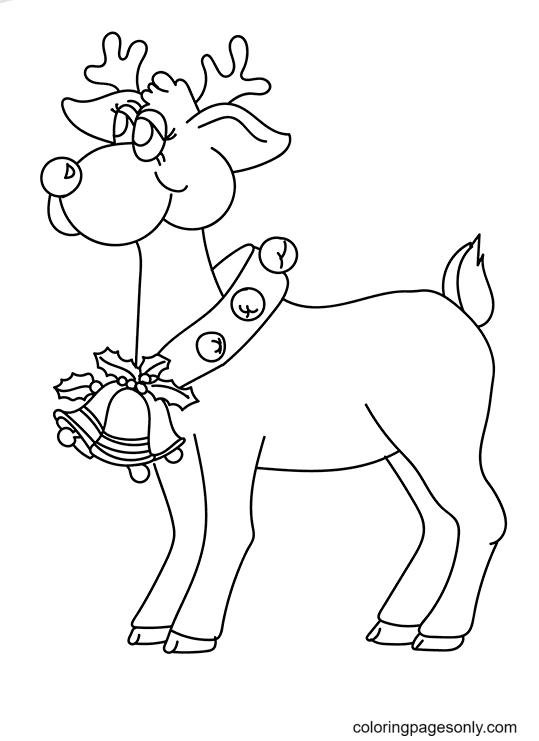 Cute Reindeer Wearing Bells Coloring Page