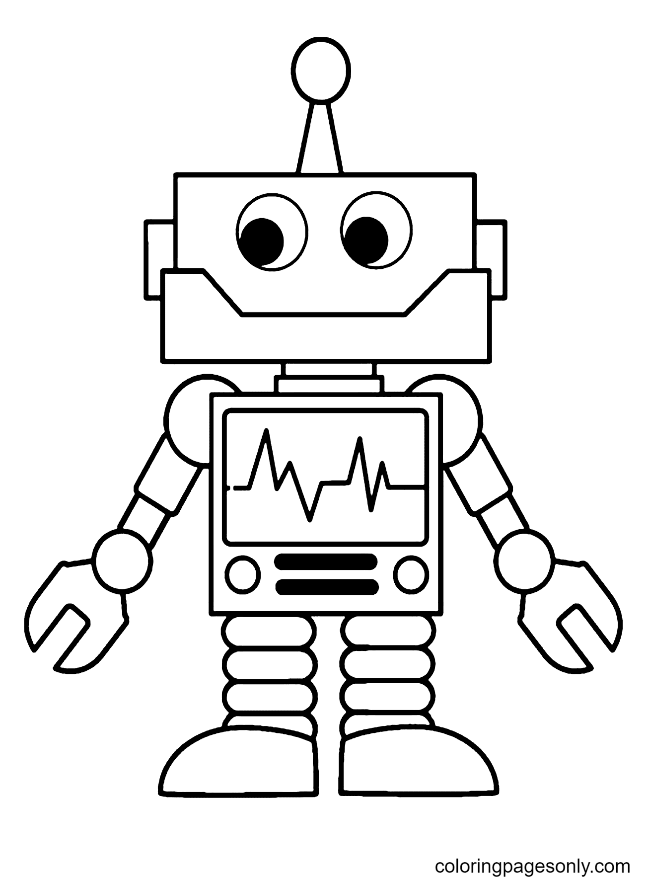 Cute Robot Guy Coloring Page