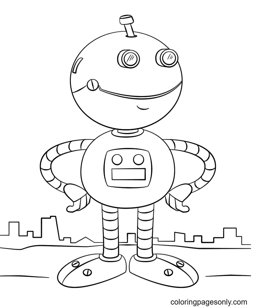 Cute Robot Coloring Page