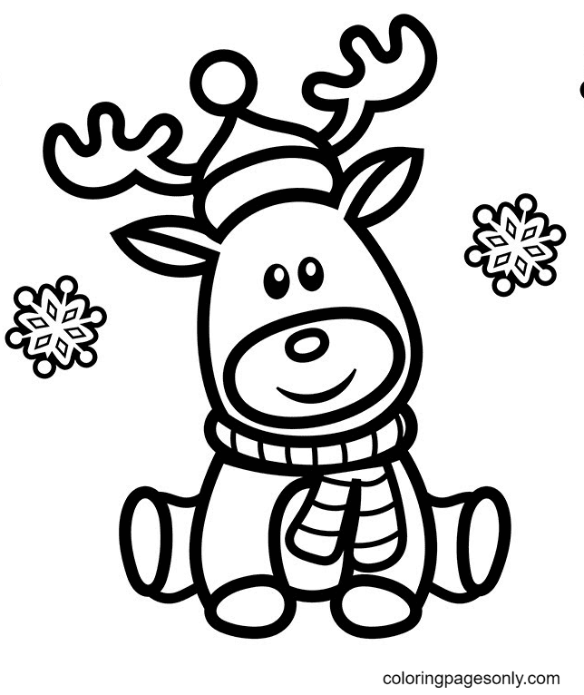 Cute Rudolph the Red Nose Reindeer Coloring Page