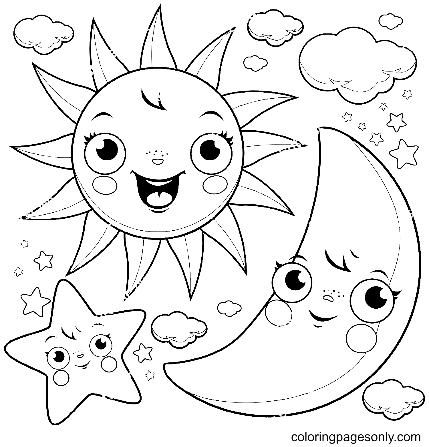 Cute Stars, Sun, Moon and Clouds Coloring Page