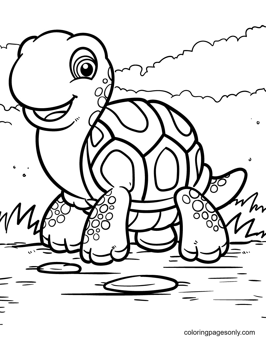 Cute Turtle Walking On Land Coloring Page