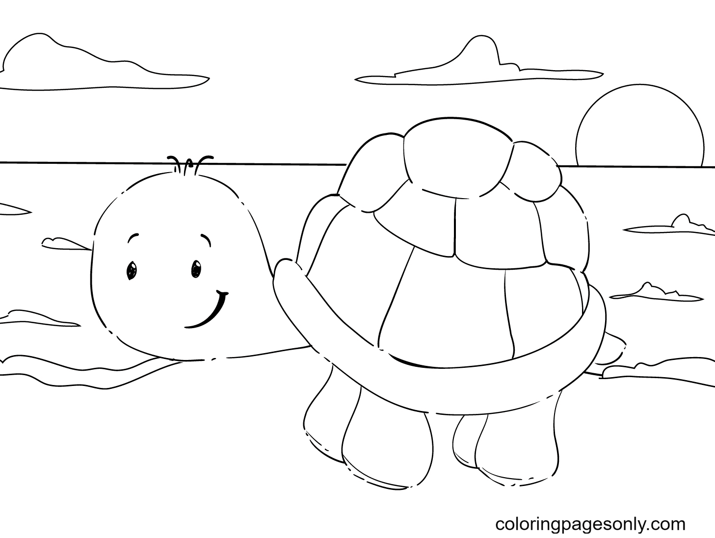 Cute Turtle Walking On Sea Sand Coloring Page