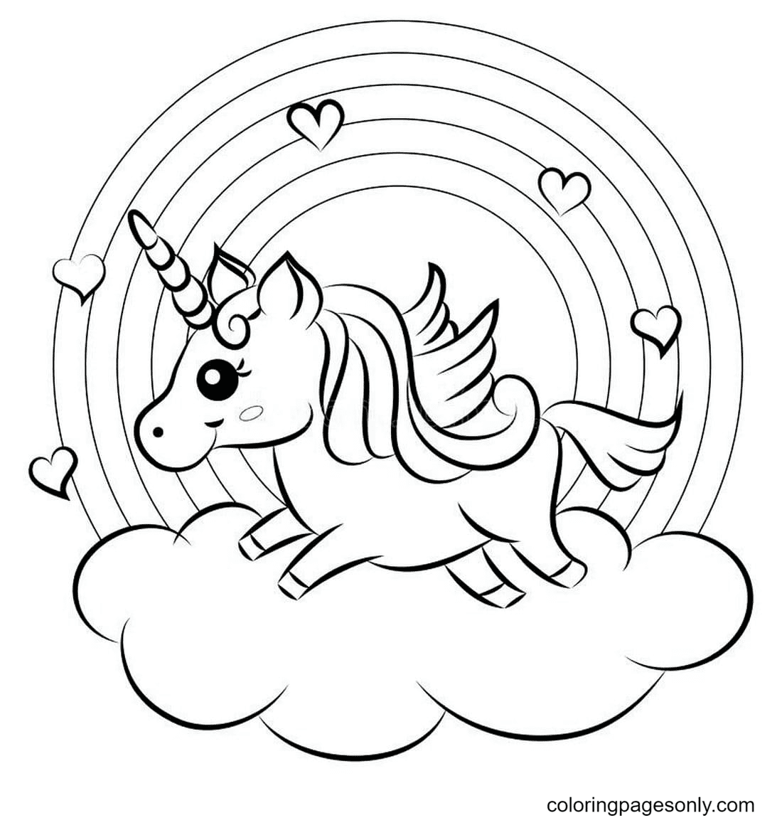 Cute Unicorn and Rainbow Coloring Page