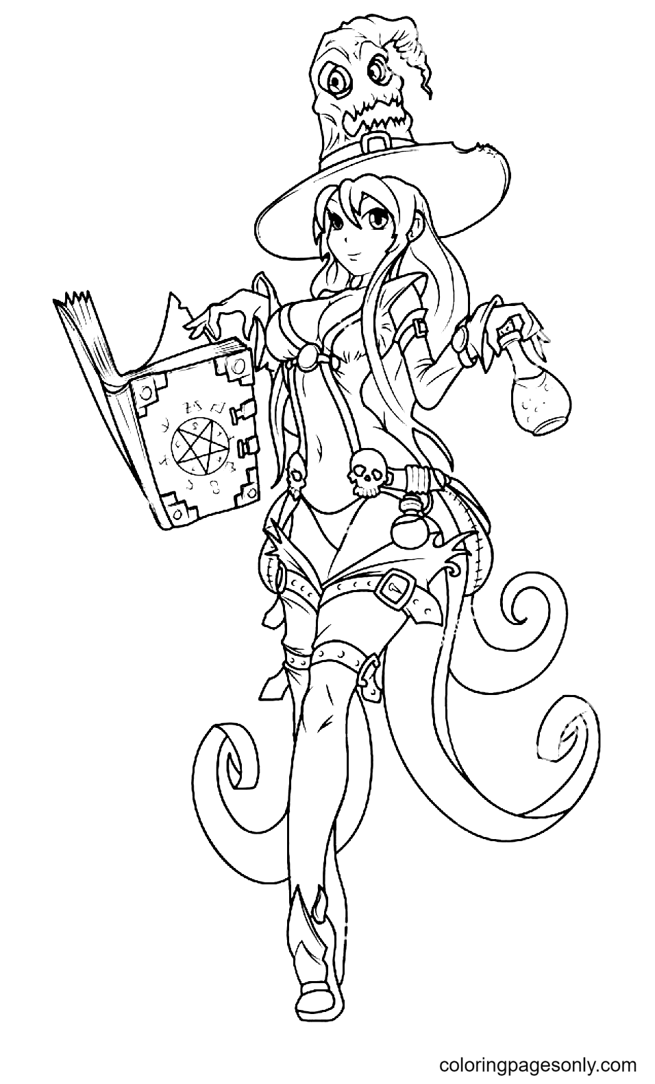 Cute Witch Holding a Spell Book Coloring Page