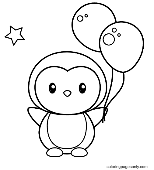 Cute penguin with balloons Coloring Page