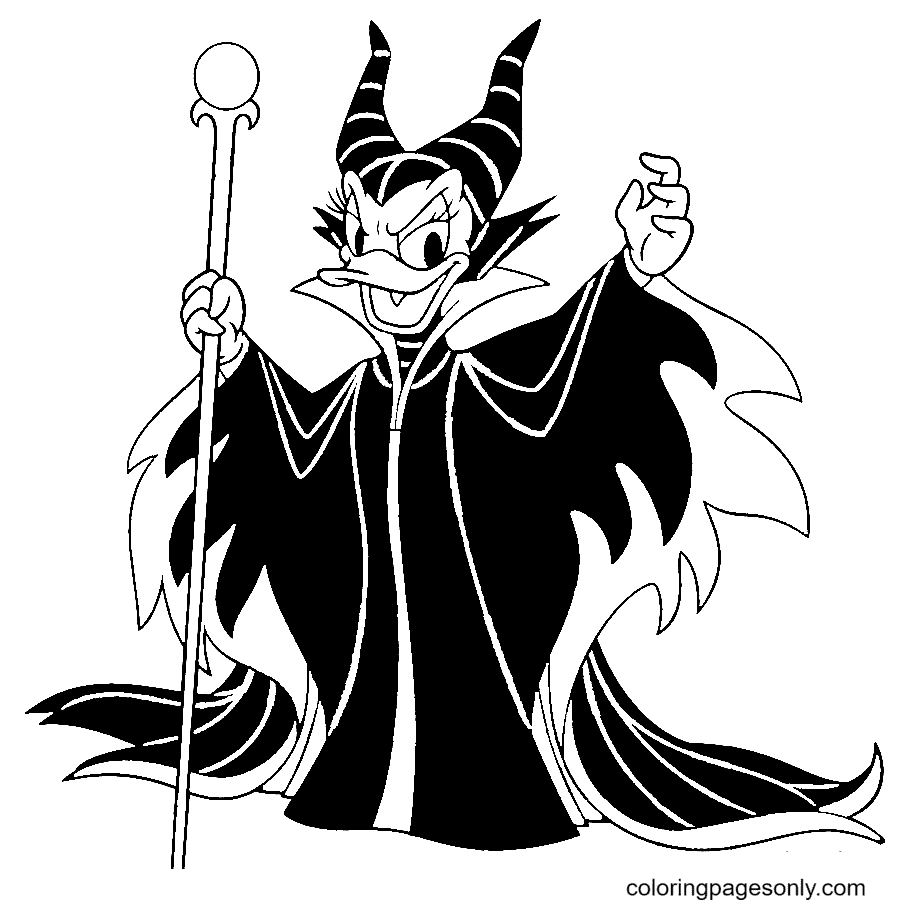 Daisy Duck as Maleficent Halloween Coloring Page