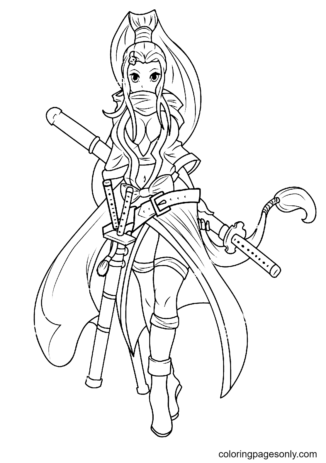 Dangerous Warrior Girl Coloring Page