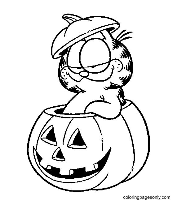 Disney Halloween Garfield Coloring Page