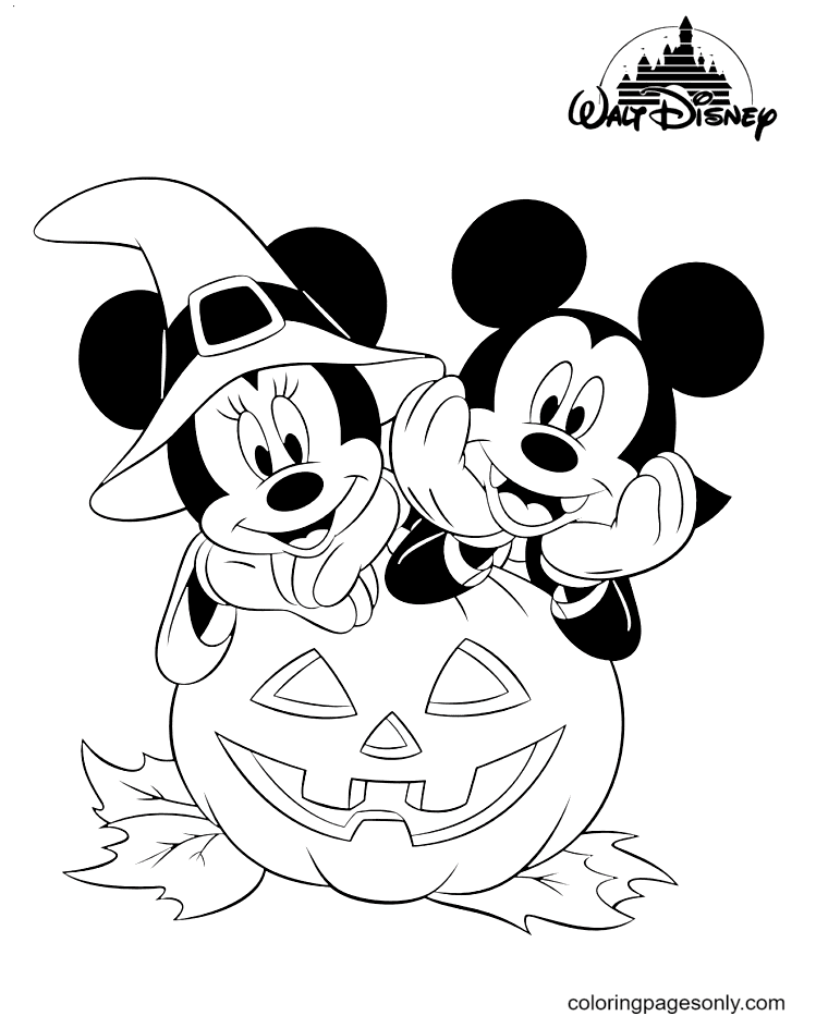 Disney Minnie & Mickey Halloween Coloring Page