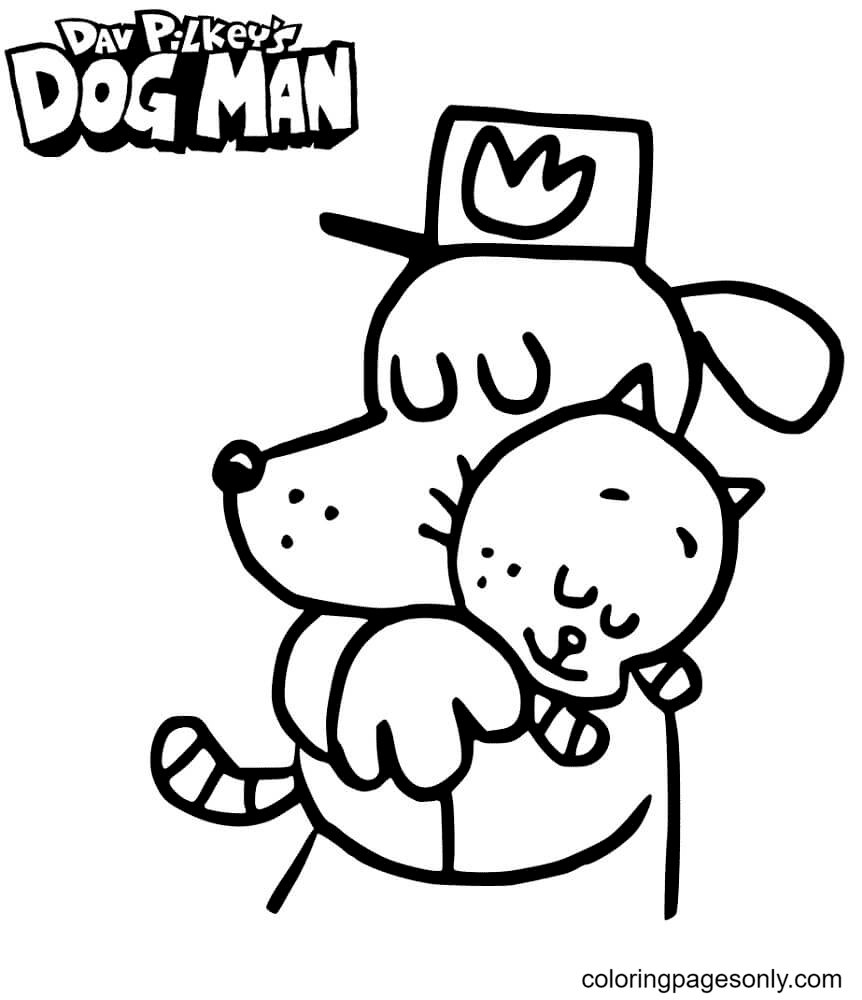 Dog Man Hugging Cat Kid Coloring Page