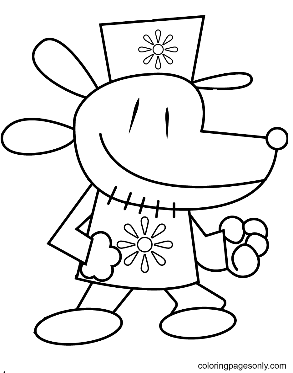 Dog Man Opens his Fists Ready for Action Coloring Page