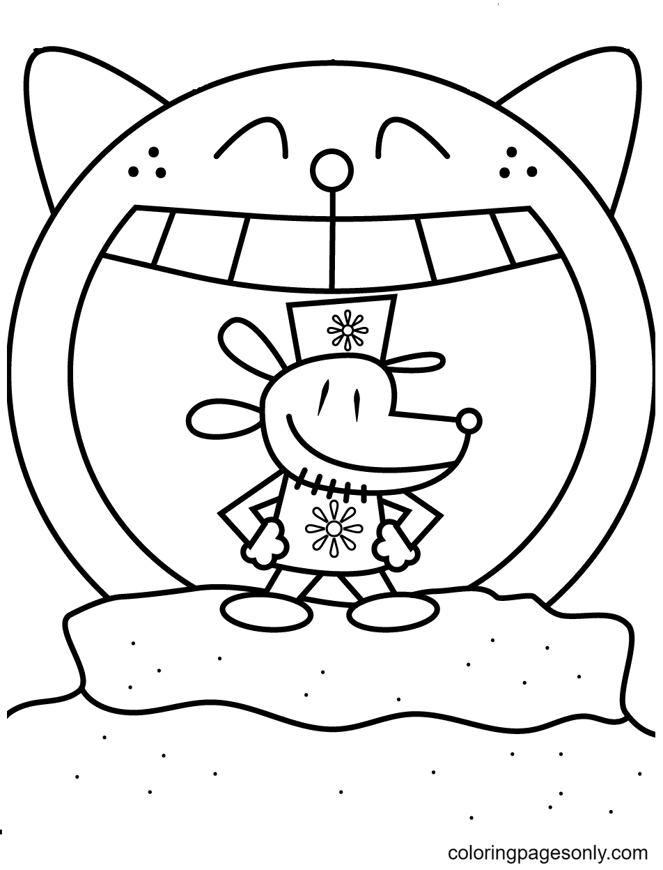 Dog Man Posing Triumphantly Coloring Page