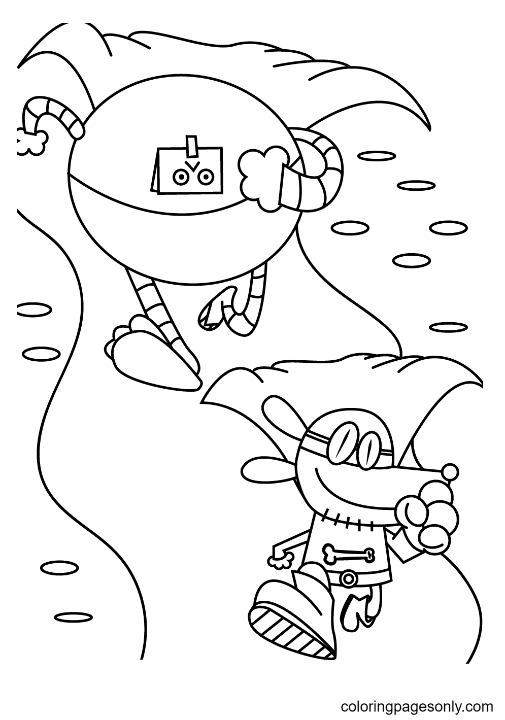 Dog Man Running Away From a Giant Robot Coloring Page