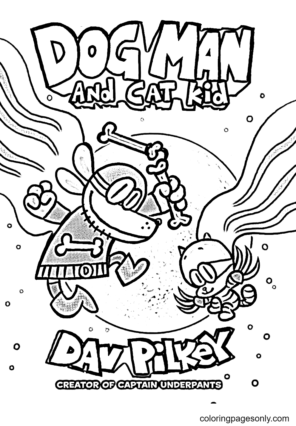 Dog Man with Cat Kid Coloring Page