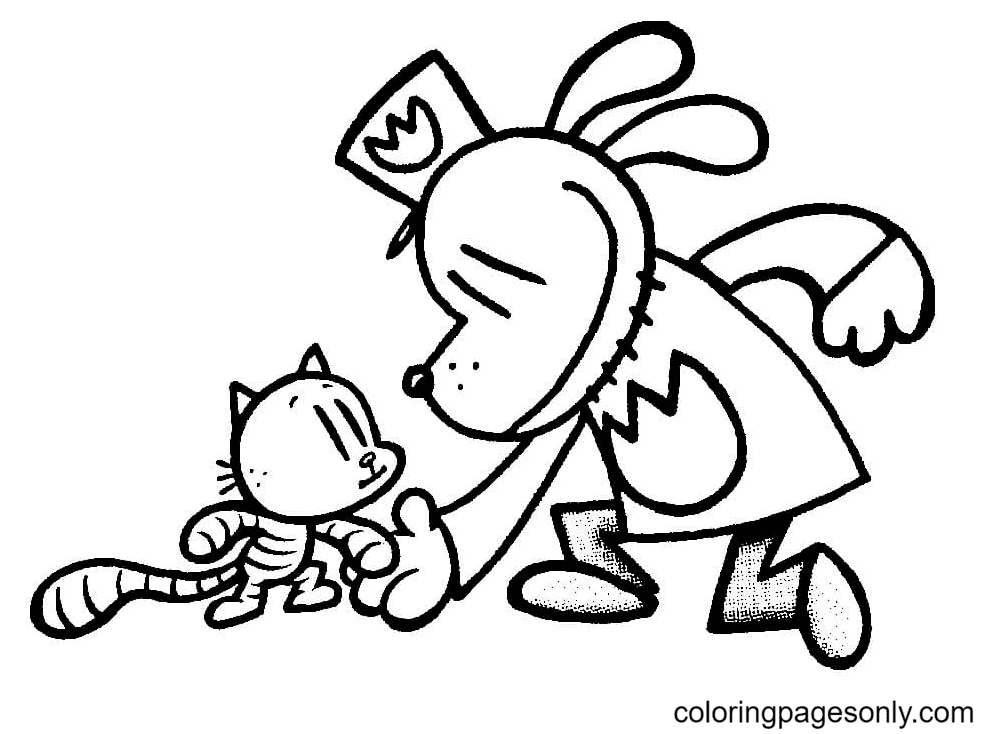 Dog Man with Cat Coloring Page