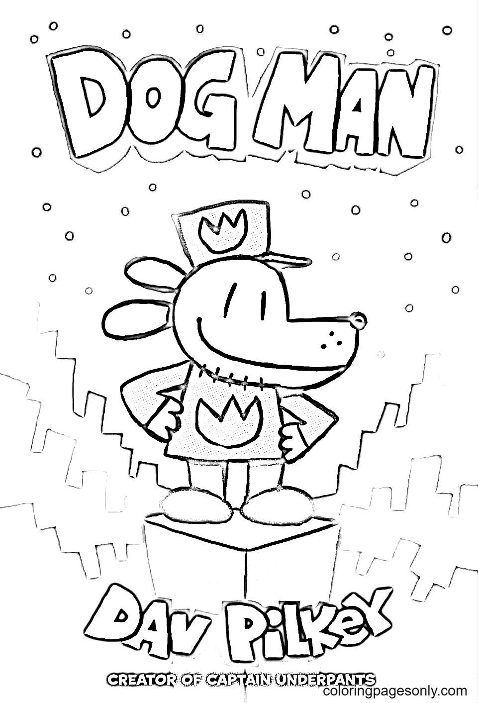 DogMan Coloring Page