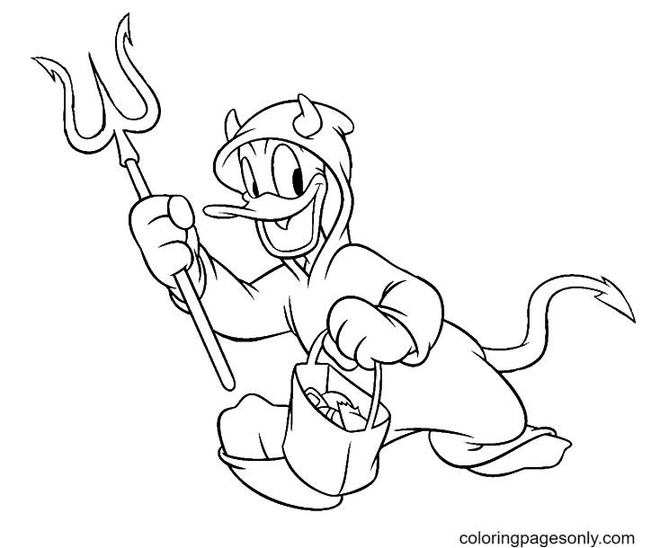 Donald Duck As A Devil Coloring Page