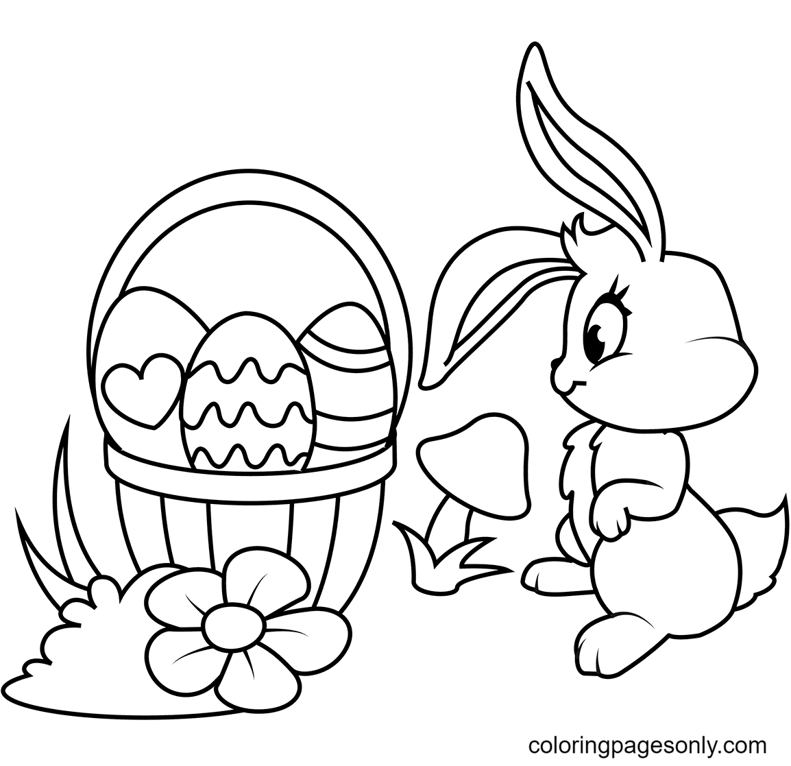 Easter Basket and Bunny Coloring Page