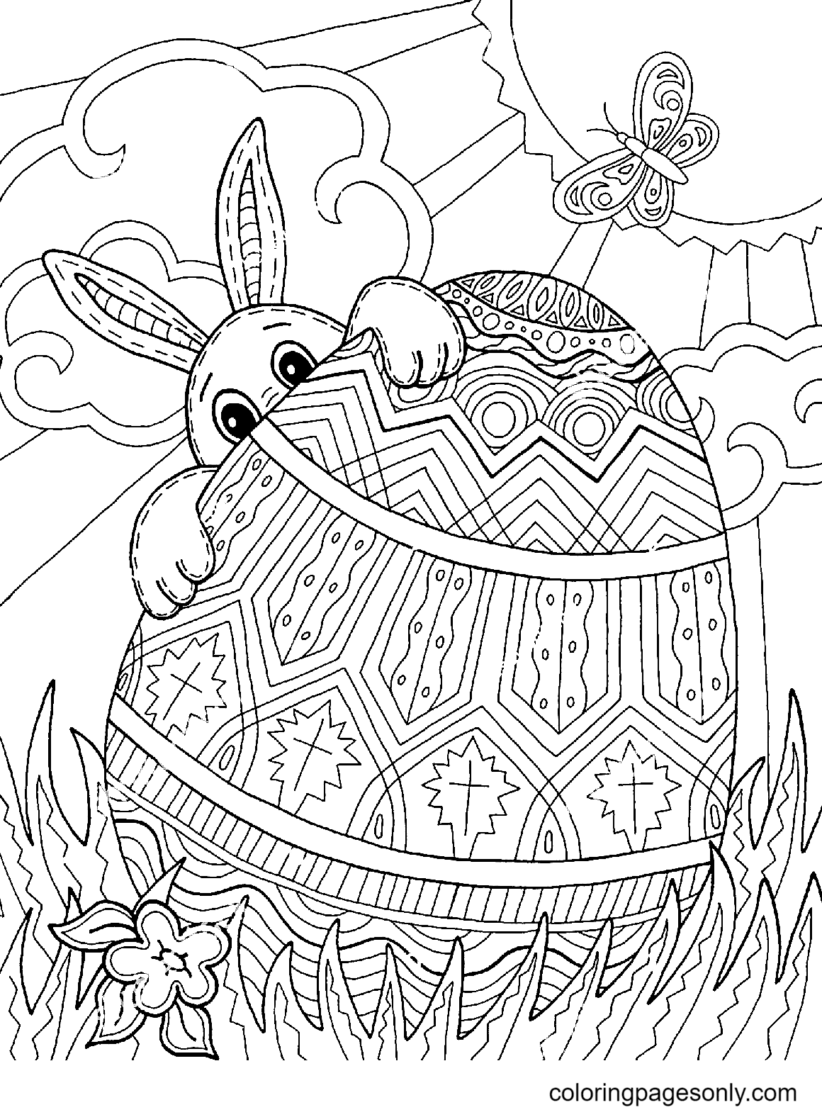 Easter Bunny Egg Hunt Coloring Page