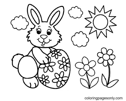 Easter Bunny, Flowers and Sun Coloring Page