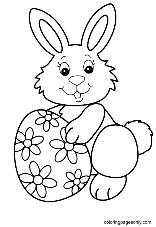 Easter Bunny For Children Coloring Page