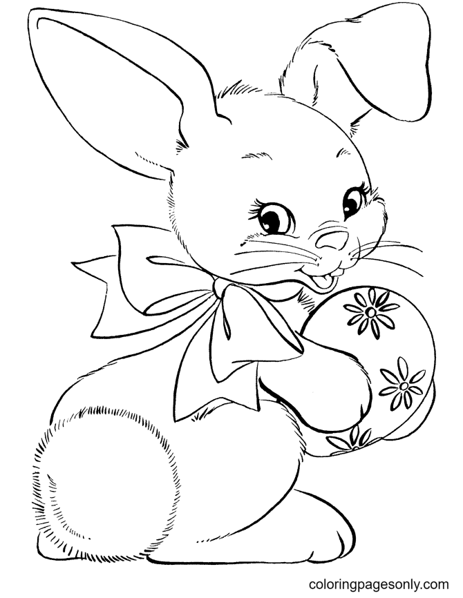Easter Bunny Holding an Egg Coloring Page