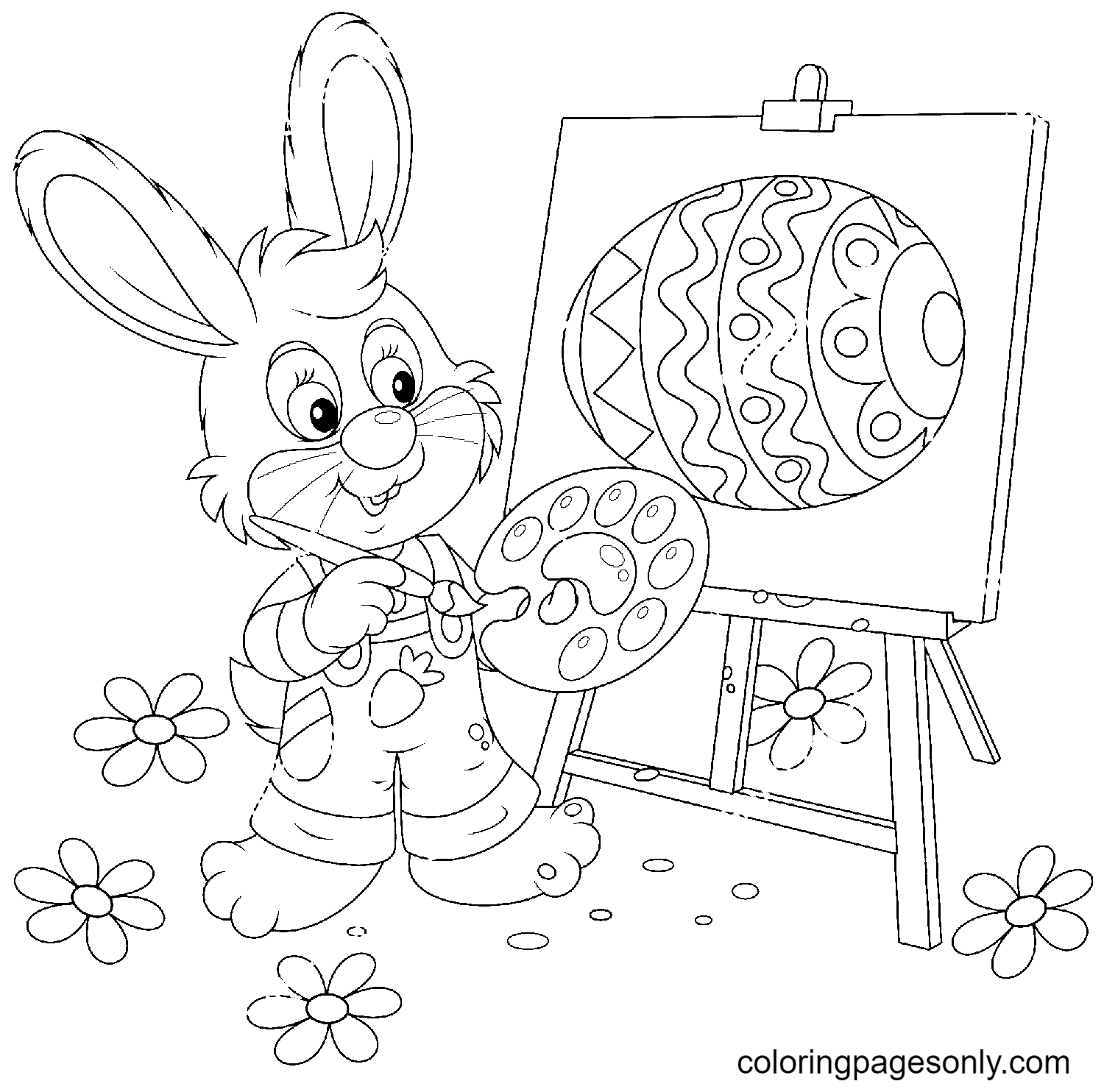 Easter Bunny Painter Coloring Page