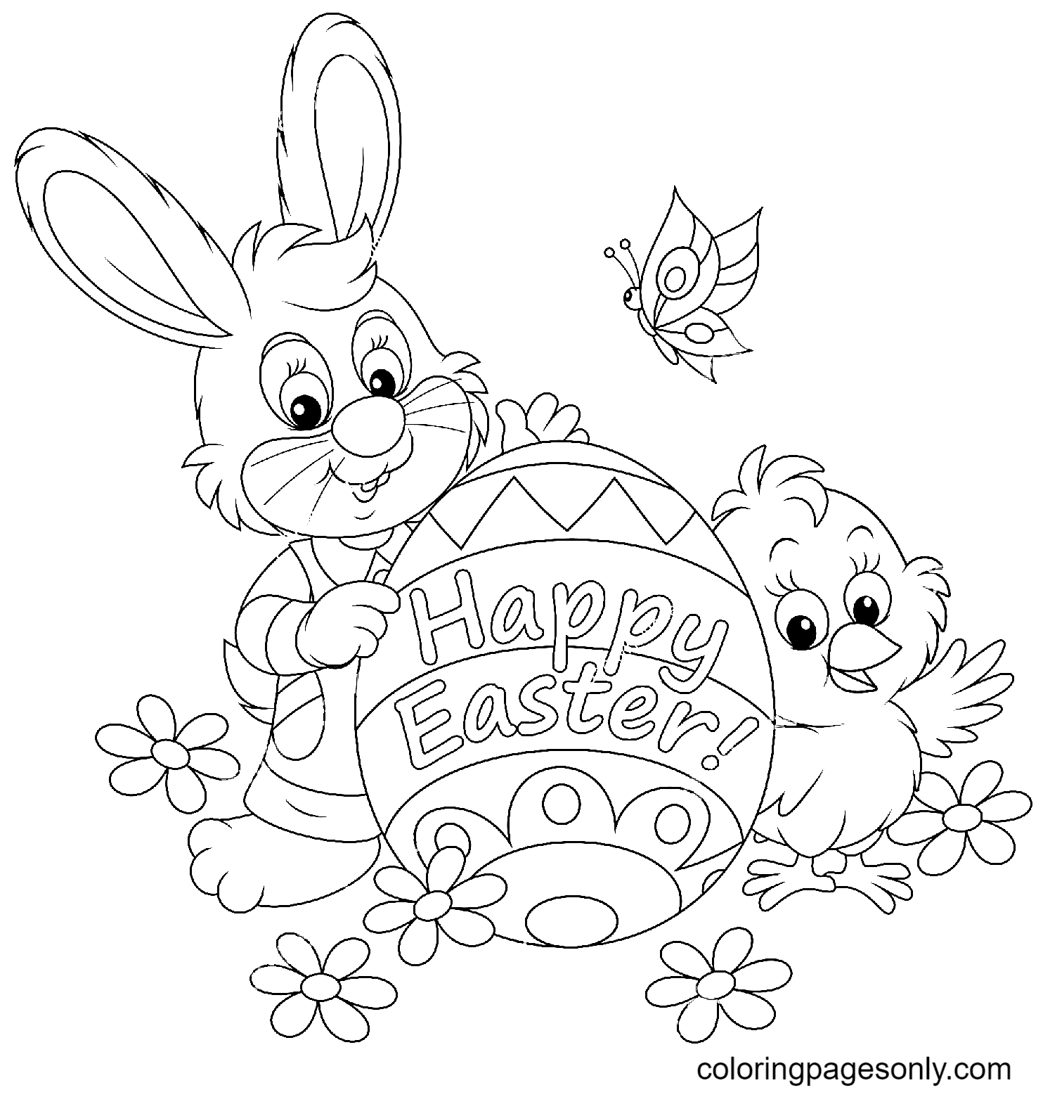Easter Bunny and Chick Coloring Page