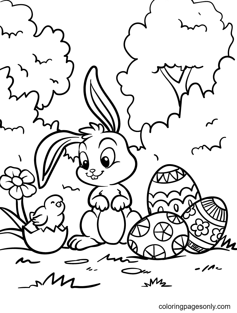 Easter Bunny with Chick Coloring Page