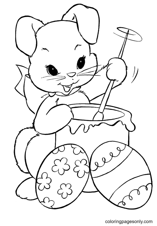 Easter Bunny with Eggs and Paint Bucket Coloring Page