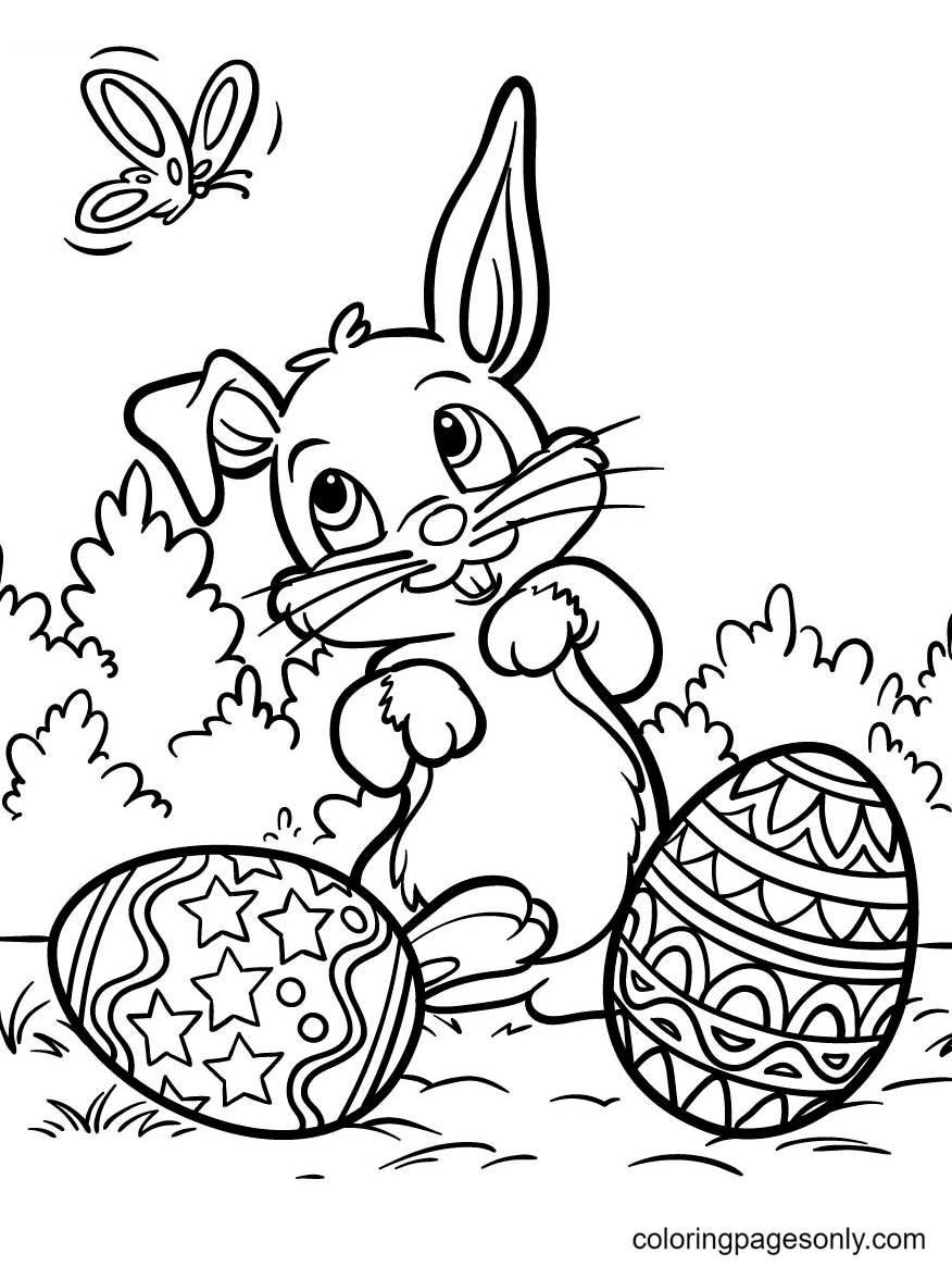 Easter Bunny with a Pretty Butterfly Coloring Page